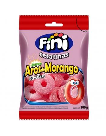 FINI BALA DE GELATINA AROS DE MORANGO 100g